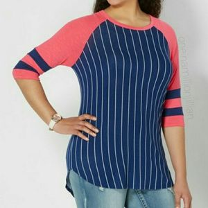 Rue 21 Plus Size Color Block Baseball Style Top